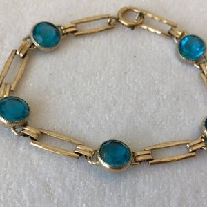 Jewelry - Antique Art Deco seafoam bezel set stones bracelet